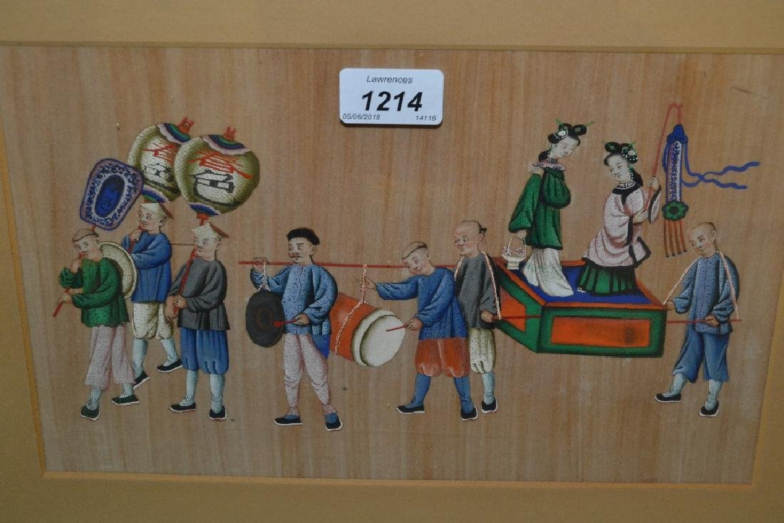 Pair of Chinese paintings on silk processional groups,