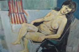 Frederick John England, oil on board, reclining female