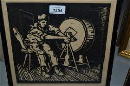 Oscar Weiss signed woodcut print study of a figure at