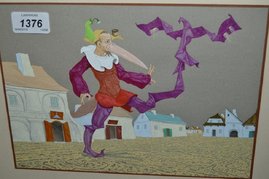 Russian / East European gouache painting, surrealist