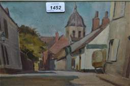 M Janes 20th Century oil on board Continental street