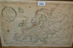 Early 19th Century hand coloured map of Europe by