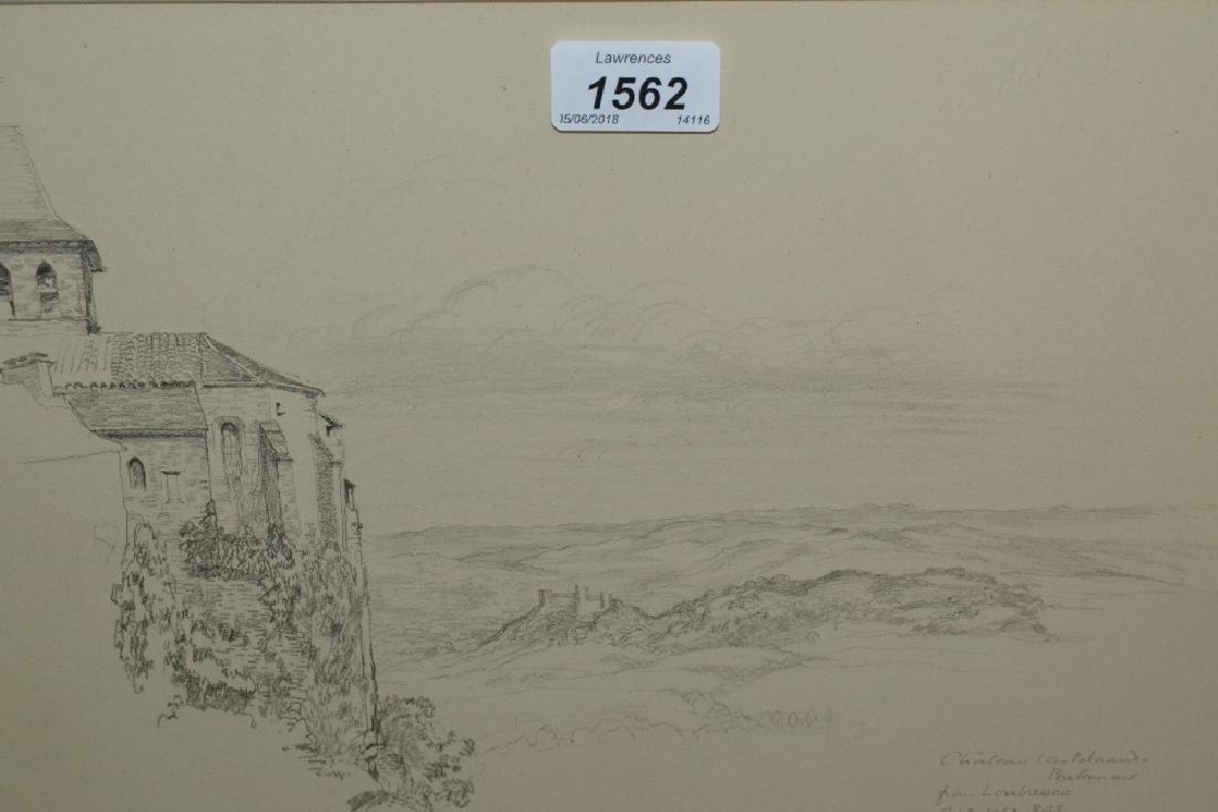 R.G. Searight, pencil sketch, Chateau Castelnaud,