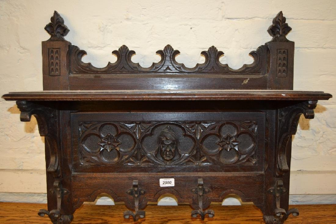 19th Century oak hanging coat stand carved with