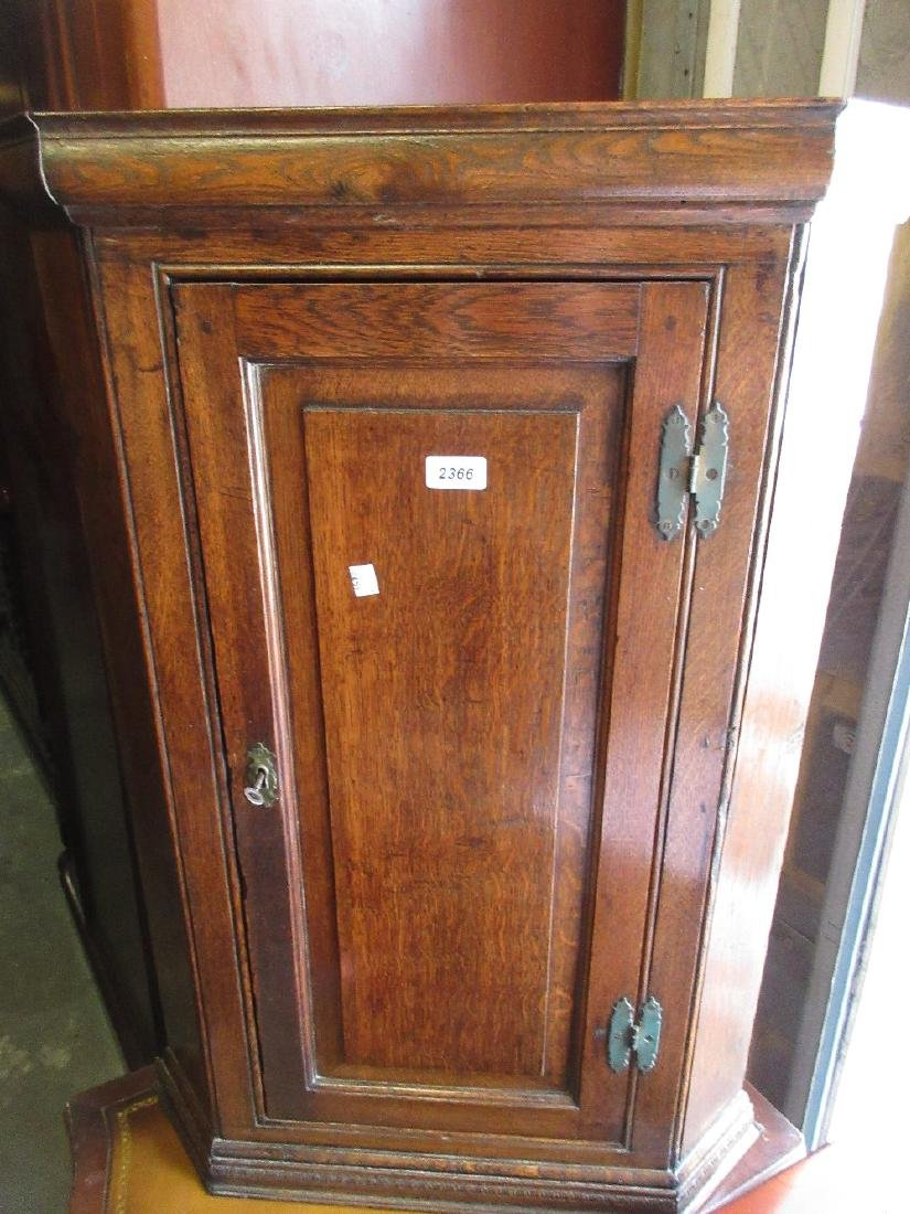 18th Century oak hanging corner cabinet