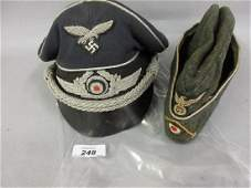 German Luftwaffe peaked cap together with a side cap