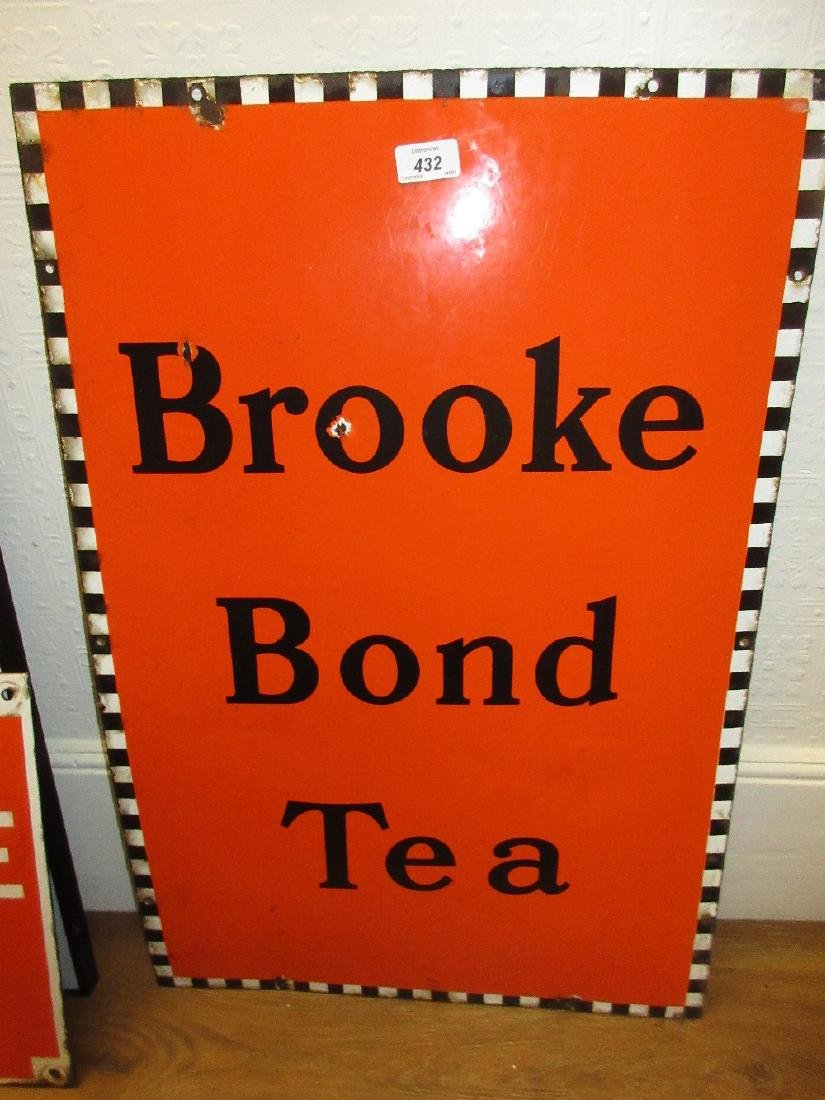 Early to mid 20th Century Brooke Bond tea enamel sign,