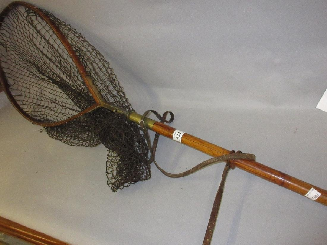 Hardy folding landing net with bamboo handle and brass