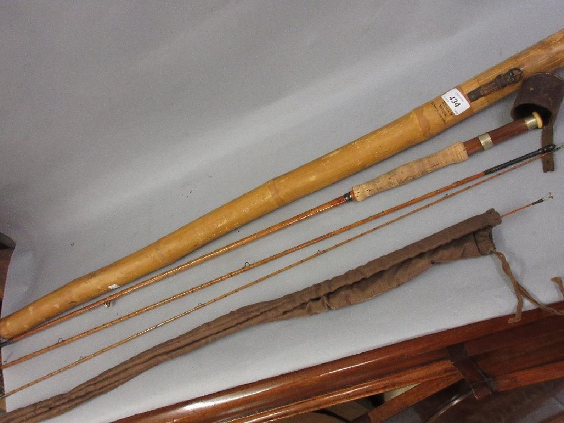 Hardy three piece split cane fly rod with