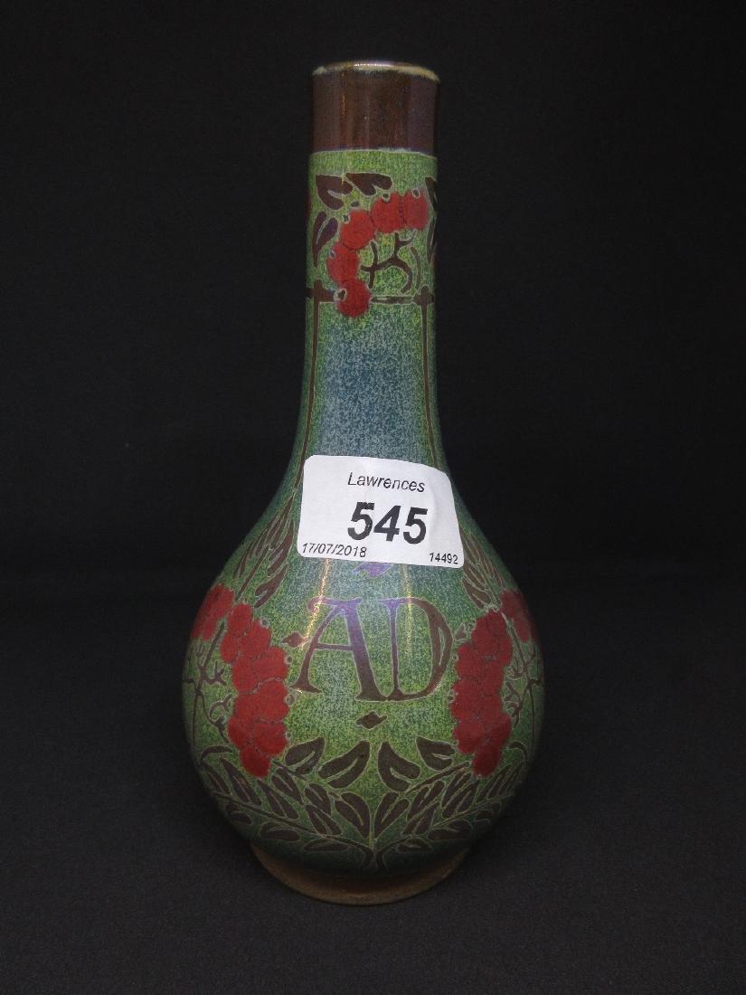 Pilkington Lancastrian bottle vase decorated with