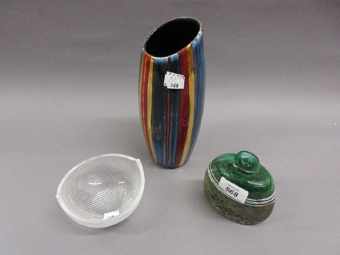 Small Art Glass bottle vase, signed Peter Goss,