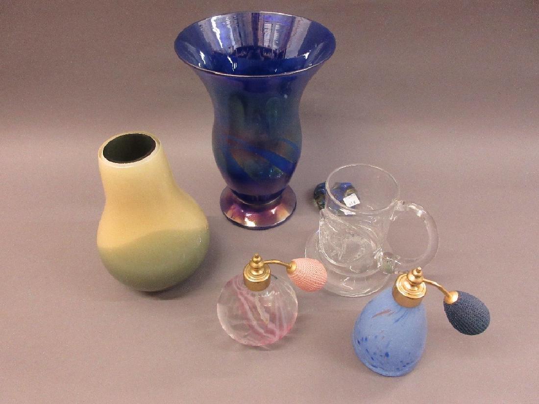 Two Caithness perfume bottles, Caithness Studio vase,