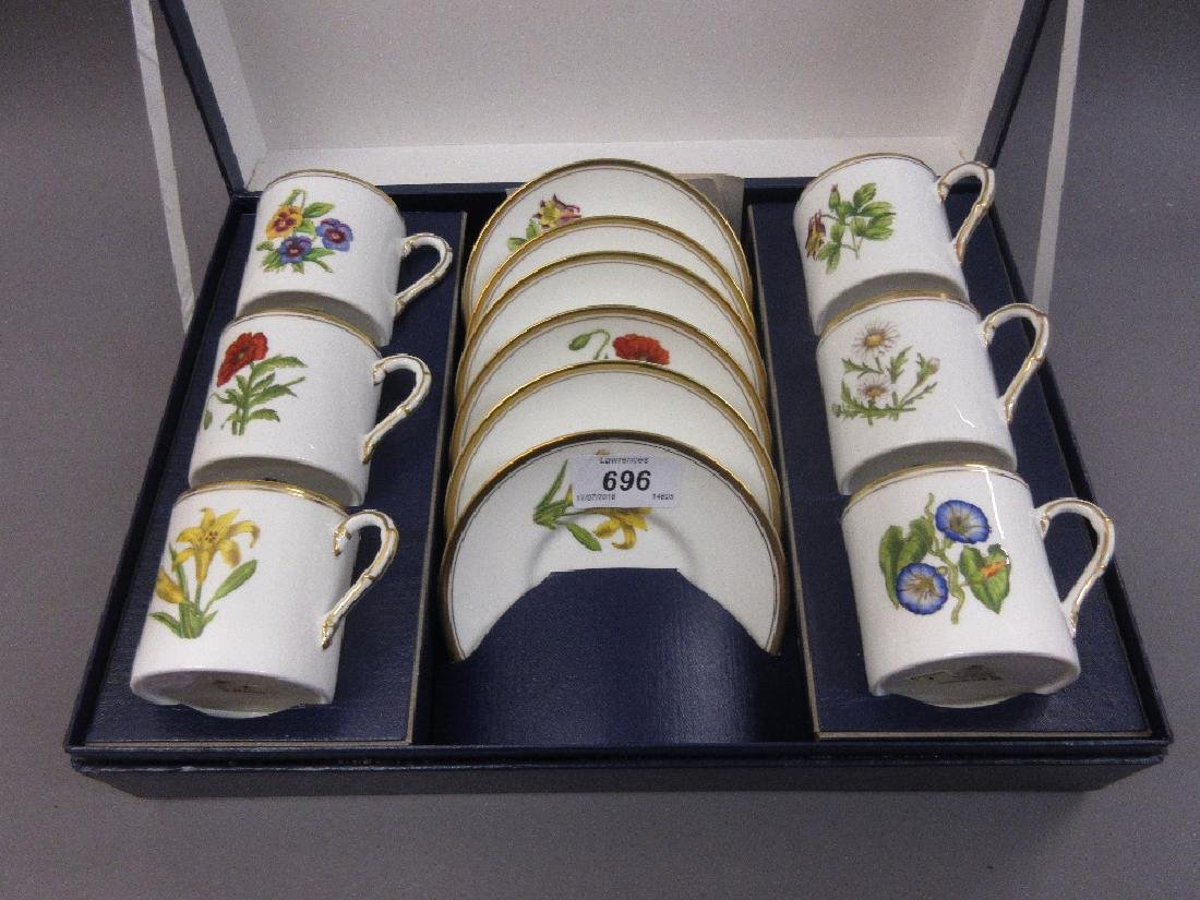 Royal Worcester Botanical pattern porcelain coffee set,
