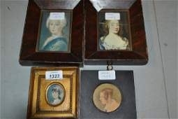 Two watercolour miniature portraits of ladies, together