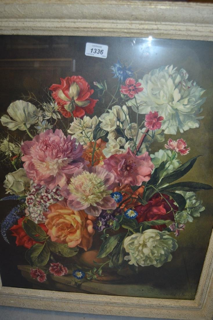 Coloured print, still life after Lionel Ellis, with