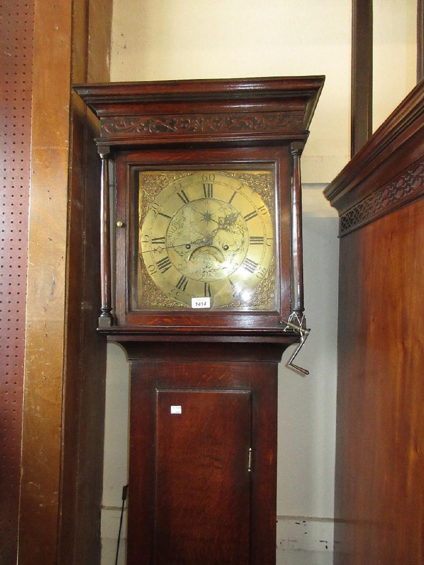 18th Century oak longcase clock, the square hood with