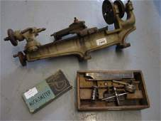Iron and steel watchmakers lathe together with a dial