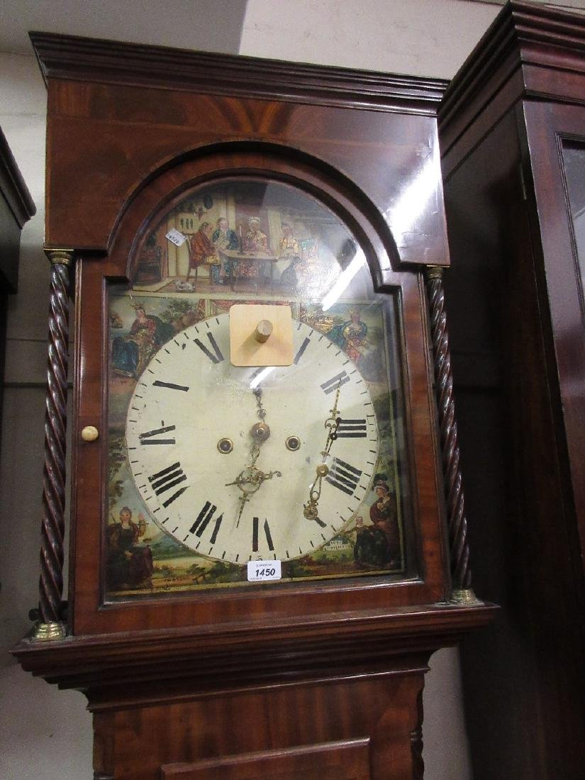 19th Century mahogany longcase clock, the painted dial