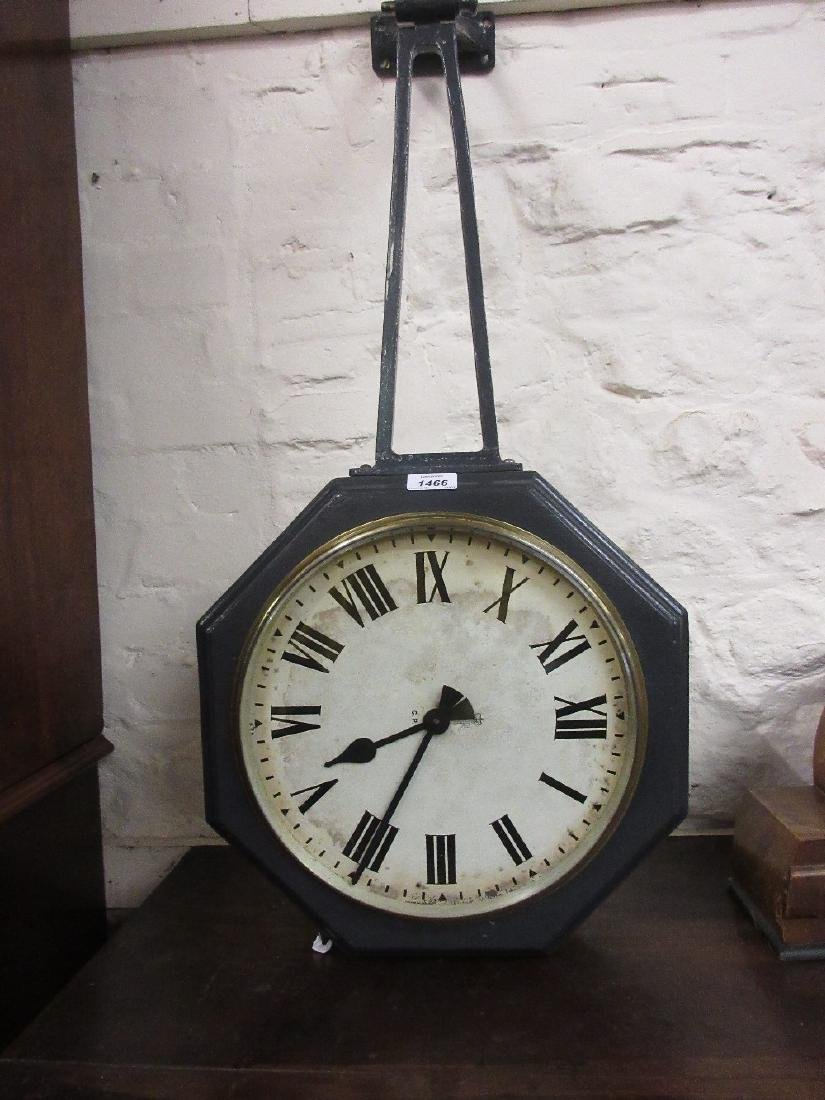 Double sided G.P.O. clock, the painted dials in an