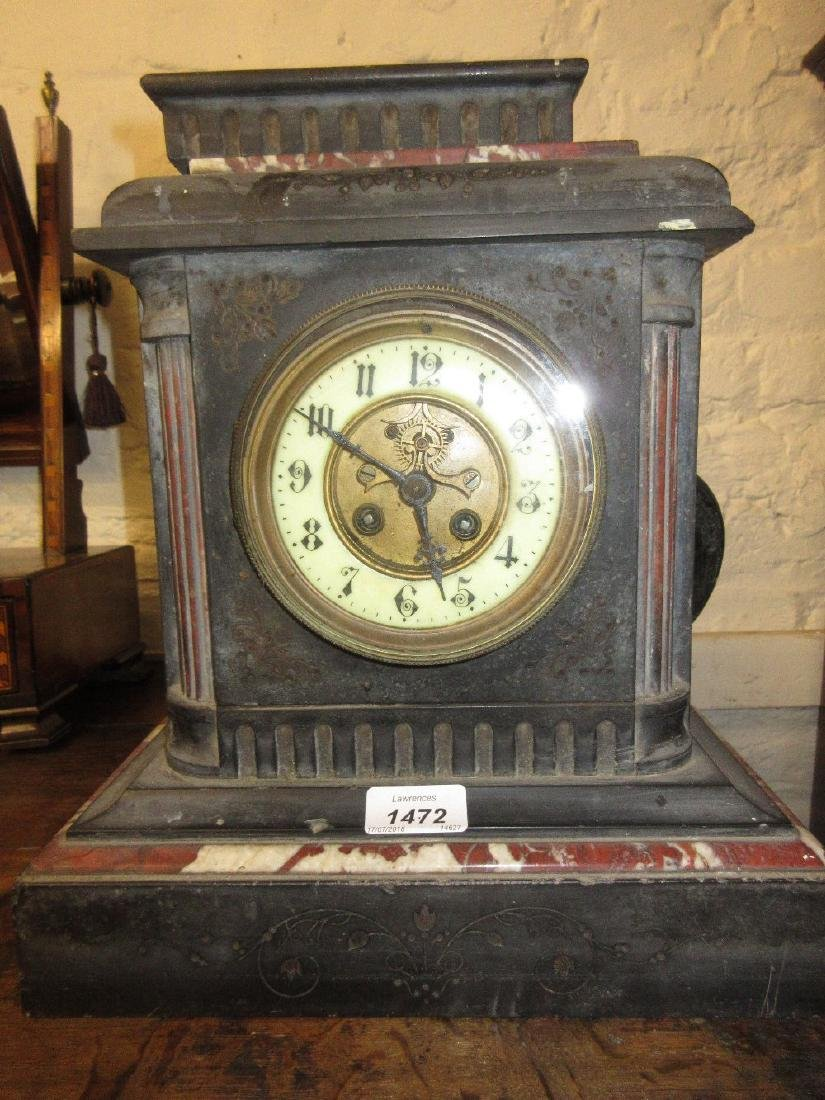 19th Century black slate and rouge marble mantel clock