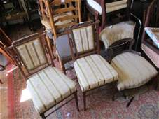 Pair of Edwardian carved mahogany bedroom chairs with