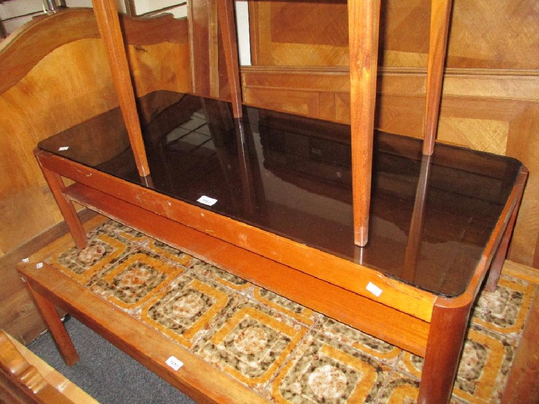 G-Plan rectangular teak and black glass coffee table