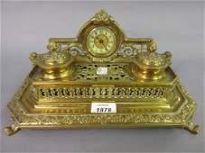 Edwardian brass two bottle ink stand of ornate pierced