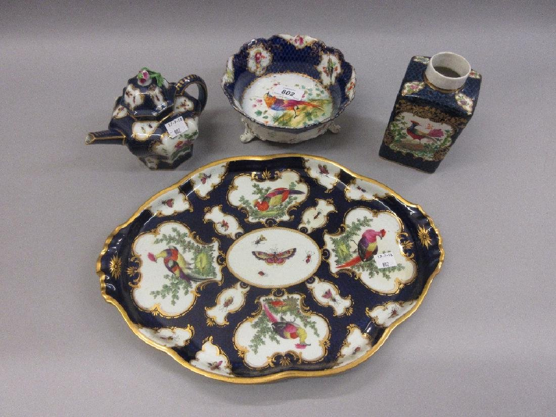 Continental porcelain tray decorated with panels of
