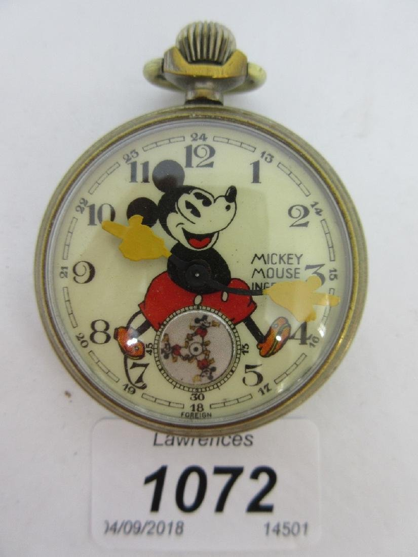 Ingersoll Mickey Mouse nickel plated open faced pocket