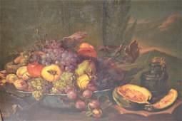 Early 20th Century oil on canvas, still life, fruit on