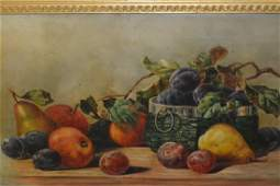 19th Century oil on canvas, still life, fruit, 13.5ins