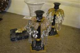 Pair of Regency style dark patinated and gilt bronze