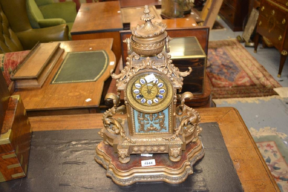19th Century French mantel clock in ornate spelter case