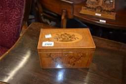 George III marquetry inlaid rectangular tea caddy