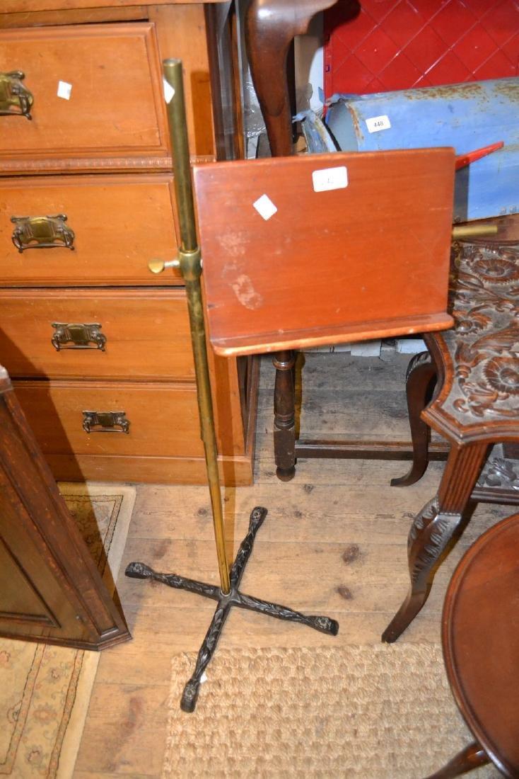 19th Century cast iron brass and mahogany adjustable