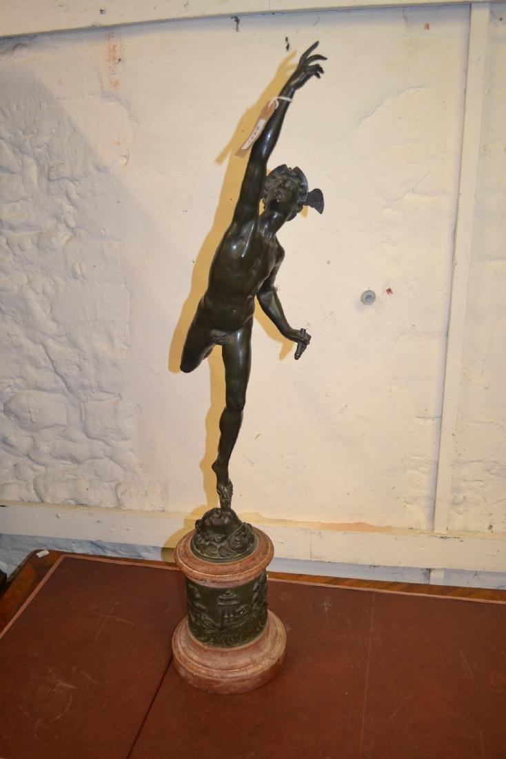 19th Century dark patinated bronze figure of Mercury