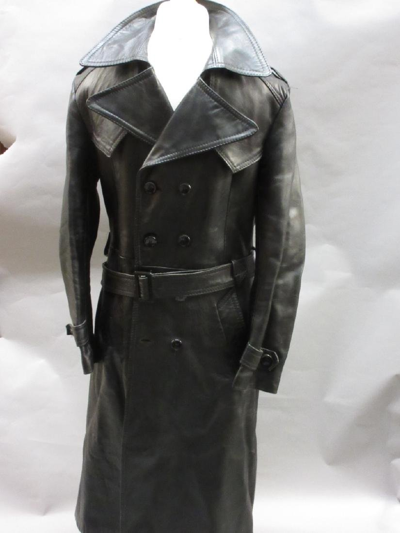 20th Century black leather S.S. style coat, together