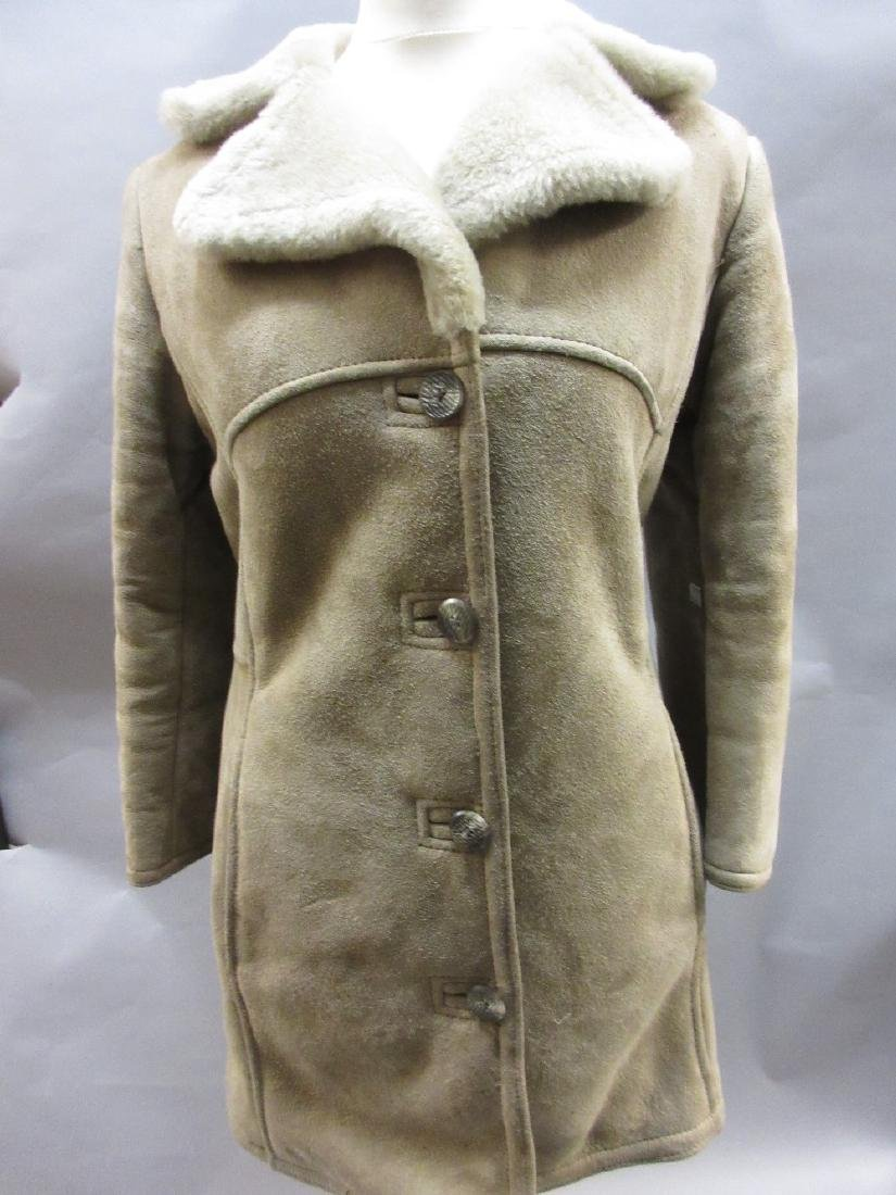 20th Century black leather S.S. style coat, together - 2