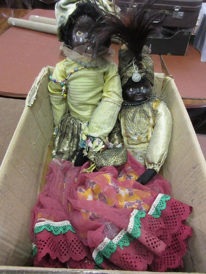 Two composition and fabric dolls with hand made