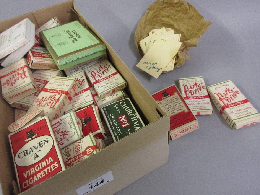 Box containing a quantity of various sets of cigarette