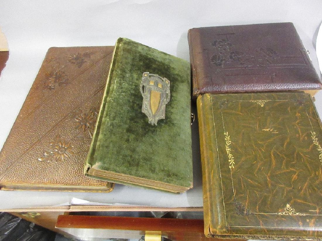 Group of three large Victorian leather bound photograph