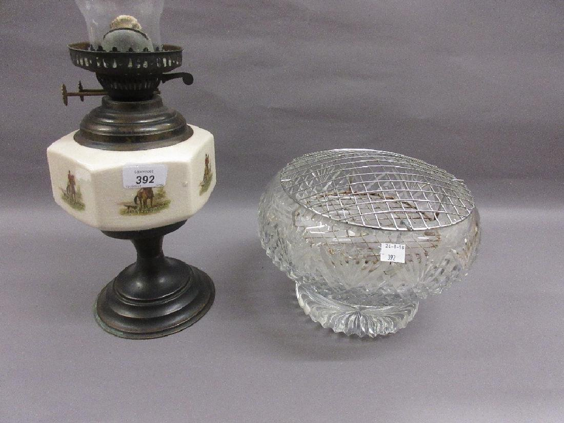 Cut glass pedestal rose bowl, together with a pottery