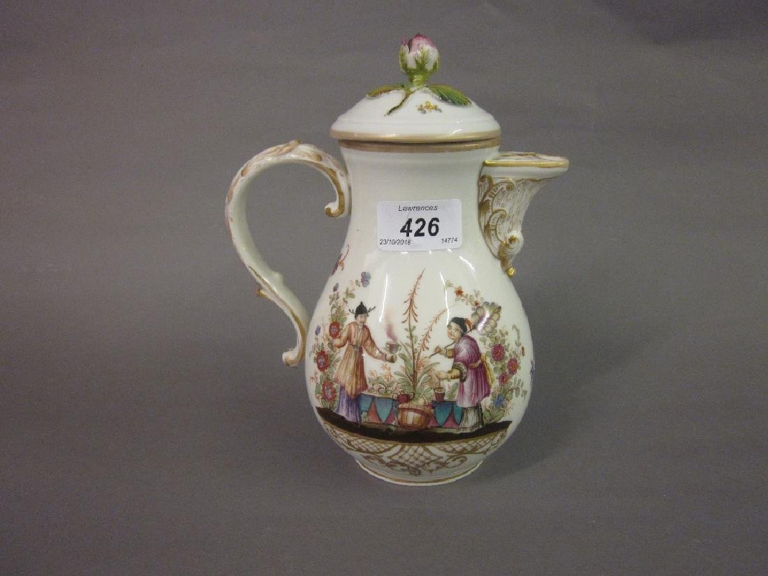 Meissen porcelain water pot painted with Chinese