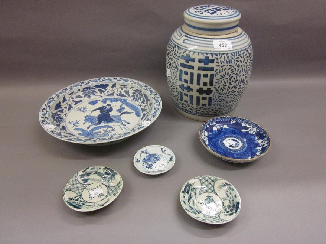 Large Chinese blue and white ginger jar, a similar