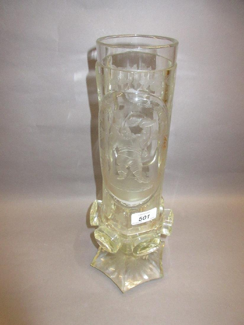 19th Century Bohemian clear etched glass vase decorated