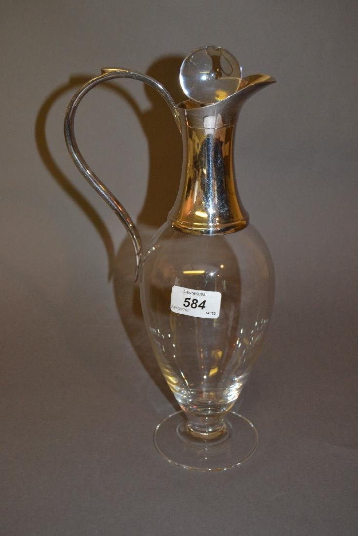 Modern silver mounted glass decanter with stopper