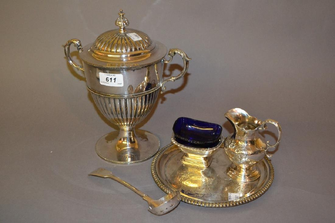 Silver plated two handled pedestal bowl and cover,