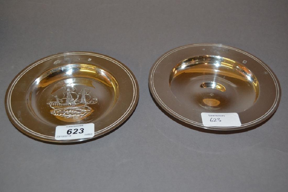 Pair of modern silver miniature Armada dishes