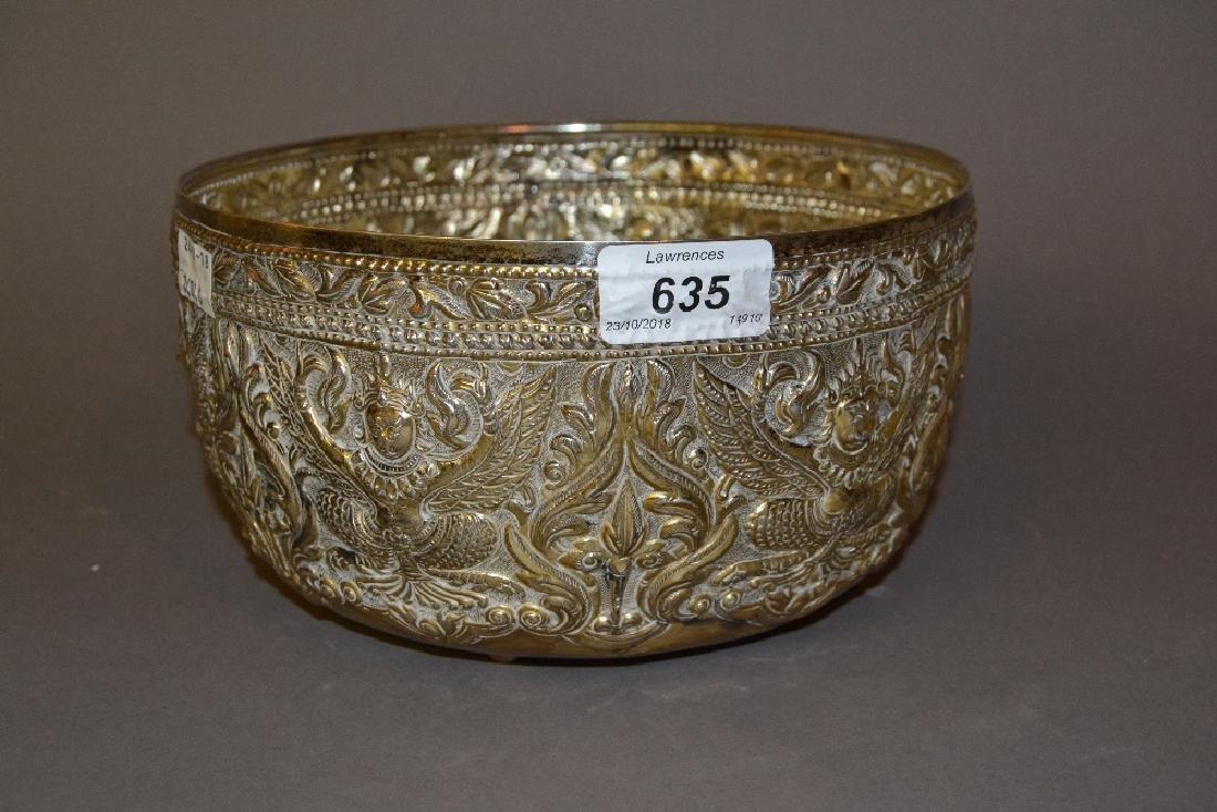 Burmese embossed white metal bowl