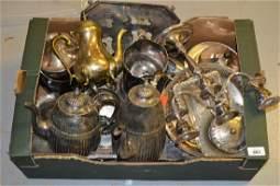 Late Victorian silver plated four piece tea service
